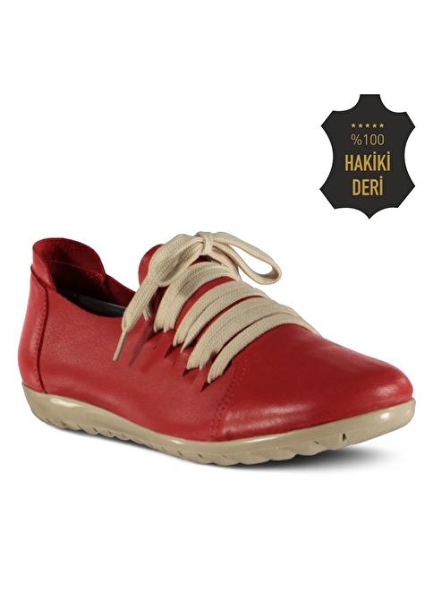 Marjin % 100 Deri Düz Casual Ayakkabı Kırmızı
